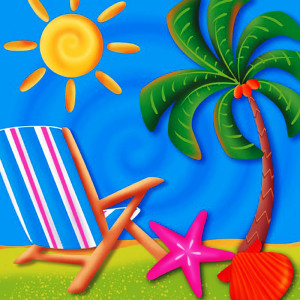Summer Beach with Lawn Chair and Palm Tree